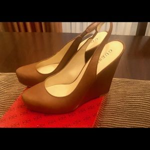 Guess slingback leather wedges.